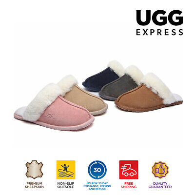 UGG Thin Rubber Sole Unisex Slippers/Scuffs , Sheepskin Wool Lining&Suede Upper