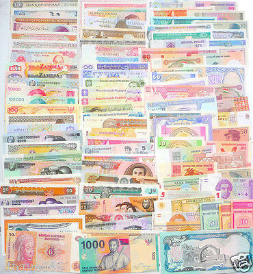 100 Different World Paper Money Collection, All Genuine, UNC, New Banknotes.