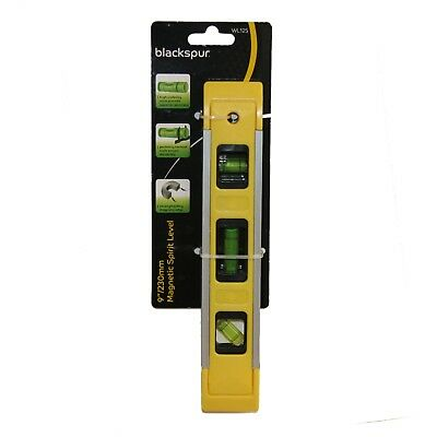 "Blackspur magnetic Edge spirit level 230mm 9"" Torpedo Small Brick Line"
