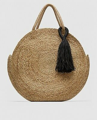 Zara New Ss18 Round Raffia Tote Bag 3156/304