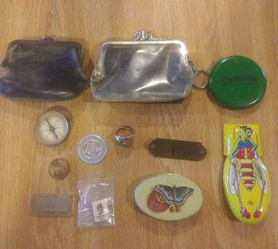 Vintage Junk Drawer lot. Tin Toy, Brass Tag, Ring, Compass, Pin, Coin Purses