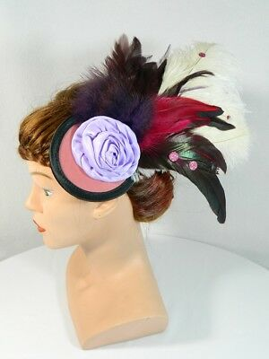 Fascinator pink lila Feder Kopfschmuck Headpiece Burlesque Dragqueen Karneval