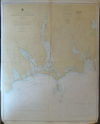 "Vintage 1977 NOAA NAUTICAL CHART #13228 Westport River and Approaches 36"" x 45"""