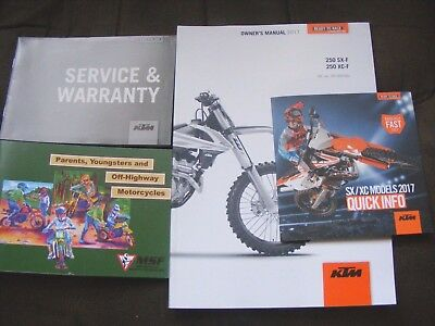 Ktm 250 Sx-F  250 Xc-F Owners Manual 2017 + Service Warranty + Booket + Borchure