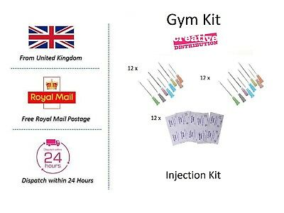Hypodermic needles Injection kit 12 week cycle Gym pack 21G 23G Terumo BD swabs