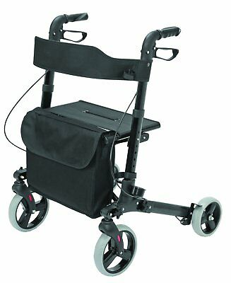 Adult Walker Medical Rollator Aluminum Folding Large Seat Euro Style 4 Wheels