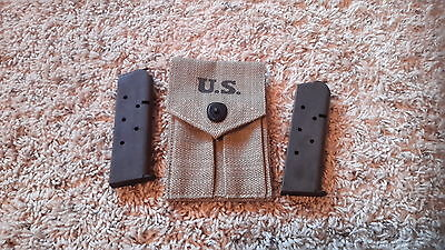 Usgi Army Magazine Mag Pouch With 2 - 7 Round Mags !! - Colt 1911 1911A1 .45 Set