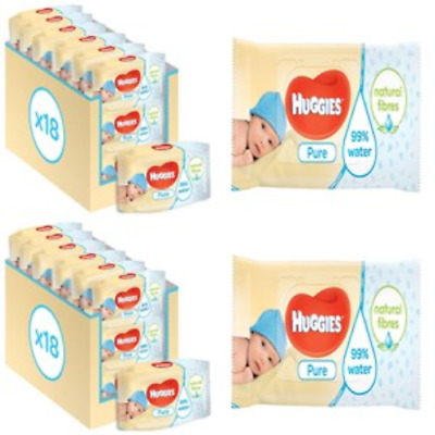 Best Huggies Pure Baby Wipes - (Pack of 18 x 56 Packs - 1008 Wipes) FREE FAST