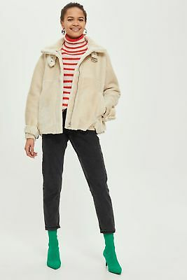 TOPSHOP Cream Short Faux Shearling Biker Jacket | UK6-UK16 |