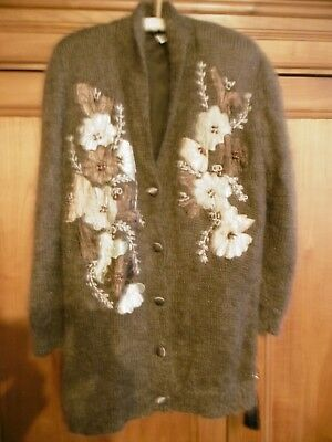 Vintage   Mohair Strickjacke mit Applikationen  braun  Gr.XL