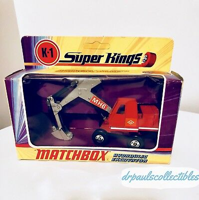 Matchbox 1971 Super Kings K-1 HYDRAULIC EXCAVATOR box Unpunched Vintage Rare