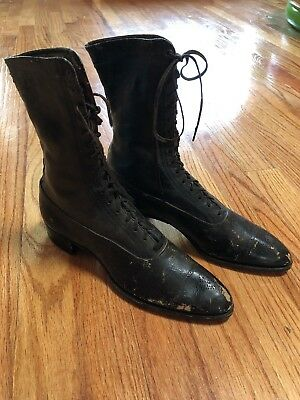 Women's Antique Vintage 1900's Victorian Lace-Up Boots Dark Brown