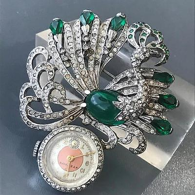 Large Vintage Art Deco Peacock Silver Tone Rhinestone Lapel Watch Pin Brooch