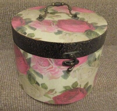 Vintage 1980`s round wooded hat box traveling box with large roses design
