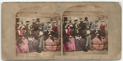 Stereoview Tinted Genre National Sports - The Rail Crinoline A. Silvester 1850er