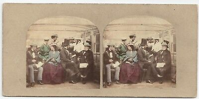 Stereoview Tinted Genre National Sports - The Rail London A. Silvester 1850er