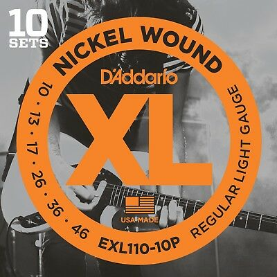 10 Sets D'Addario EXL110-10P Electric Guitar Strings 10-46 Light Pack