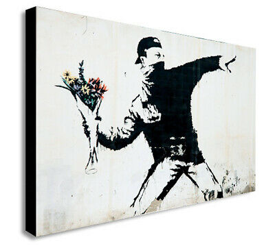 BANKSY FLOWER THROWER Canvas Wall Art Framed Print. Various Sizes
