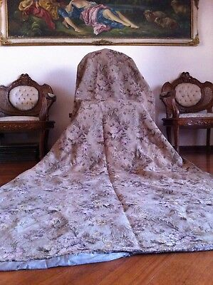 19th Century ANTIQUE FLORAL CURTAIN BROCADE TIMEWORN LARGE 132 x 46 inches
