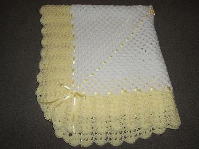 White & Lemon 40 Inches Hand Crochet Photo Prop Baby, Reborn Blanket , Shawl