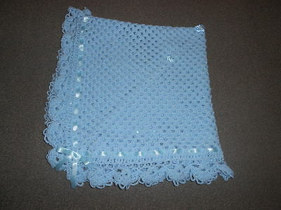 💙  Blue 40 Inches Handmade Crochet, Reborn,photo Prop, New Baby Blanket Shawl