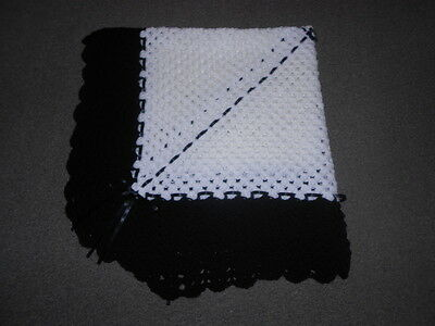 White & Black 40 Inches Hand Crochet Photo Prop Baby, Reborn Blanket , Shawl