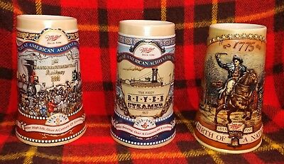 Miller Beer Steins 🍺 Collectable 1988 1989 & 1991 Great Condition Great Artwork