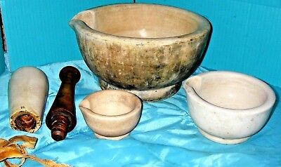 Set of 4 Antique Porcelain Mortars and Pestle, 12'', 6'' , 4'' & 13'' Pestle