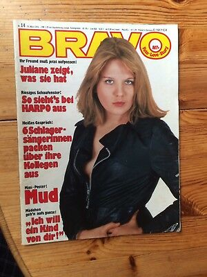 Bravo Nr. 14 1976  mit MUD Poster; Juliane Wedding, Rubettes, McCartney, Harpo