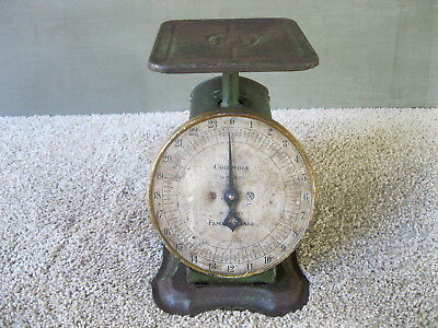 Antique Scale COLUMBIA Family Household Vintage, Original Green Paint