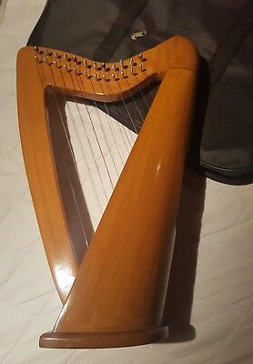 12 Strings beech  Wood  harp with  Carry Bag Tunning key and string