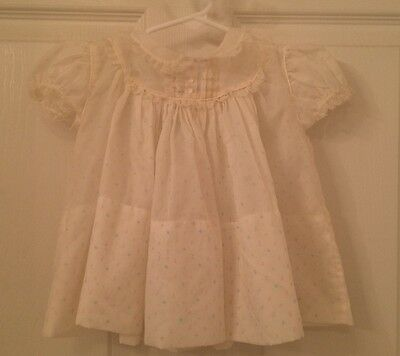 Vintage 1950's nylon baby dress, ecru with very faint pink and blue dots