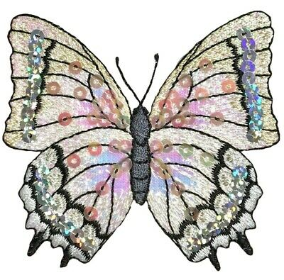 """Sequin Butterfly Applique Patch - White, 3-1/8"""" (Iron on)"""