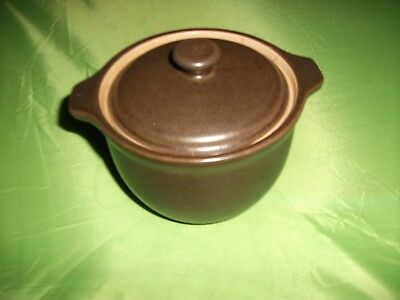 New Unused Denby Brown Cookpot And Lid 12 Cms Diam  10 Cms Tall