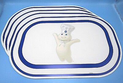 NWT 2004 Lot of 4 Pillsbury Doughboy Blue & White Chef Style Plastic Placemats