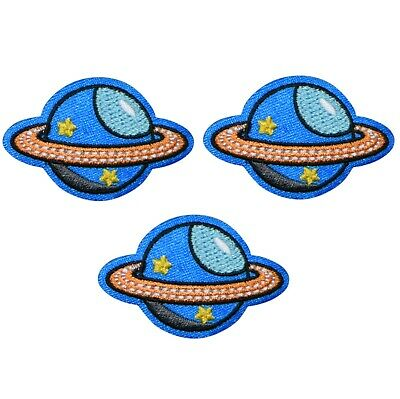 Saturn Planet Applique Patch - Outer Space Kids Patch (3-Pack, Iron on)