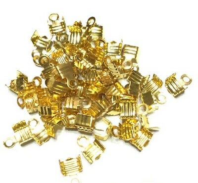 Pinch Ribbon Crimp End Findings with Teeth-50 PCS Jewelry Supplies-CHOOSE Size!