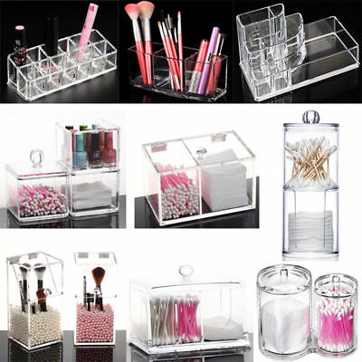 Clear Makeup Holder Brush Jewelry Organizer Acrylic Cosmetic Case Storage Box