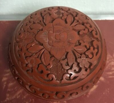 Vintage Chinese Carved Red Cinnabar Lacquer Round Lidded Trinket Box Beautiful