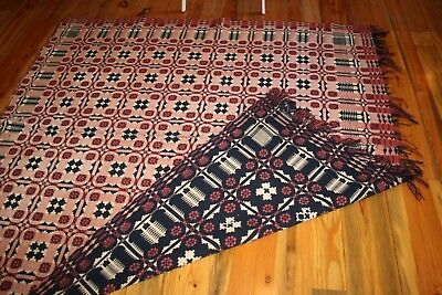 "Antique Double Weave Coverlet, 2 Panel, Blue & Red Weft Yarns on Ecru. 72"" X 77"""