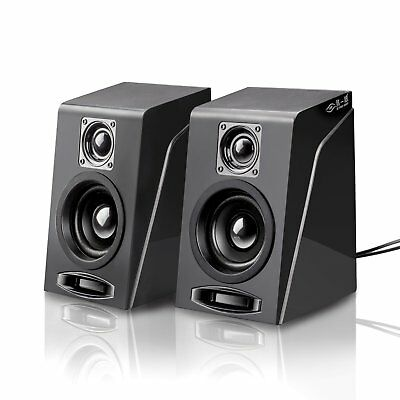 USB Powered Computer Speakers PC Laptop 2.1 Stereo Black With Subwoofer System