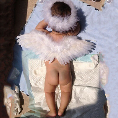 Infant Newborn Photo Prop Baby Angel Fairy Feather Wing Decoration Costume LK