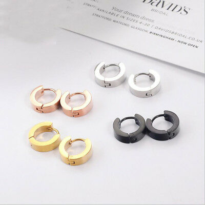 Fashion Men Women Unisex Punk Stainless Steel Hoop Stud Earrings Ear Gothic