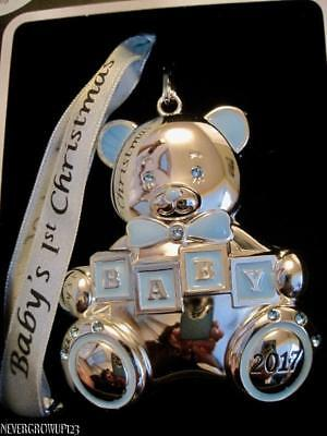 037e3faad 2017 Baby's 1St~First Christmas~Boy~Silver Ornament~Swarovski Crystals~Nib