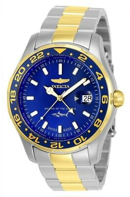 Invicta Pro Diver Mens Swiss Made Quartz 44Mm Stainless Steel,gold Case Bluedial