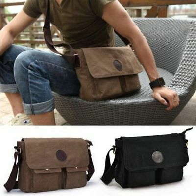 Men Boys Vintage Canvas Leather Satchel School Military Shoulder Messenger Bag e