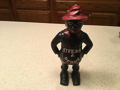 """Black Americana Cast Iron Bank Pappy Man Two Sided Give Me a Penny 8.5"""" Tall"""