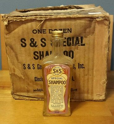 Antique S & S Special Shampoo Full Glass Bottle with Paper Label  Cincinnati OH