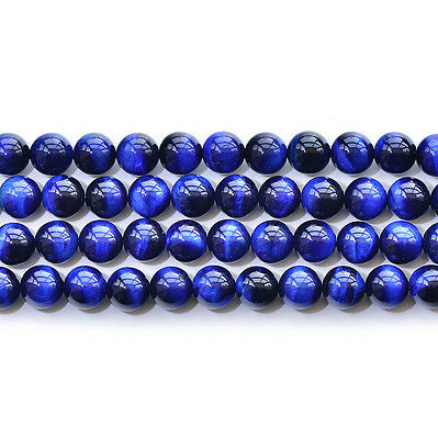 "Natural 5A Blue Tiger's Eye Stone Gemstone Round Loose Beads 15"" 6 8 10 12mm"