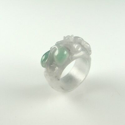 Antique LUCKY Qing Jadeite Jade Saddle Ring Dynasty 19th Century Auspicious